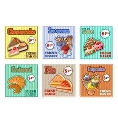 Set of baking menu card vector image vector image