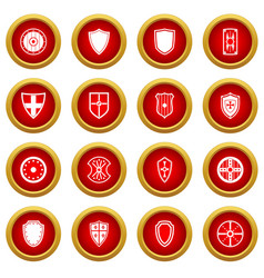 Shield frames icon red circle set vector
