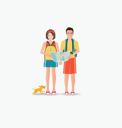 couple travelers carring map with dog isolated on vector image vector image