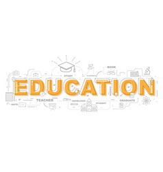 design concept of word education website banner vector image