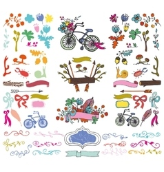 Doodle floral grouphand sketch rustic colored vector image