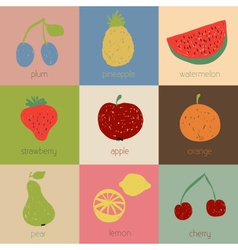 Doodle fruit icons in retro colors vector image