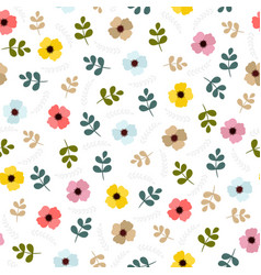 floral seamless pattern with leaves and flowers vector image