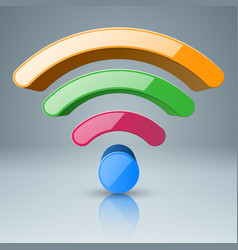 3d wi-fi icon foou color vector