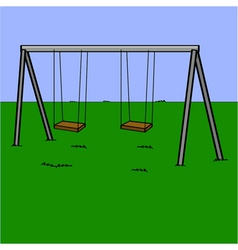 Abandoned swing set vector image