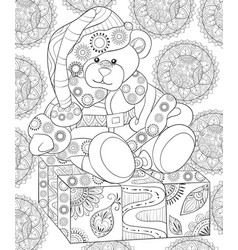 Adult coloring bookpage a cute cartoon bear vector