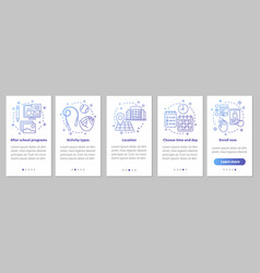 After school education onboarding mobile app page vector