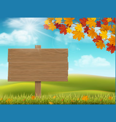 autumn rural landscape with sign vector image