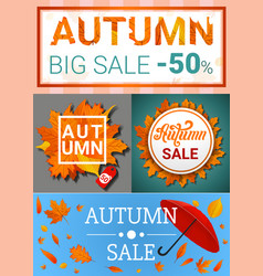 autumn sale banner set cartoon style vector image