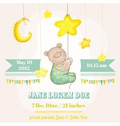 Baby boy arrival card - bear with moon vector