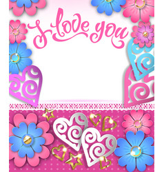 banner i love you with paper hearts and flowers vector image