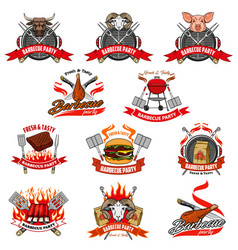Barbecue party charcoal bbq fire and meat icons vector