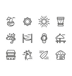 Beach leisure black line icons set vector