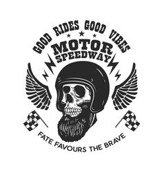 Bearded skull in racer helmet with wings design vector