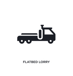 Black flatbed lorry isolated icon simple element vector