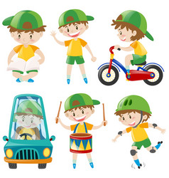 Boy with green hat doing different things vector