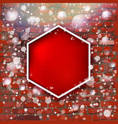 brick wall with bright red label and fall of snow vector image