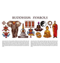 Buddhism religion symbols and characters vector