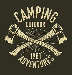 Camping vintage axe adventure outdoor logo 33 vector