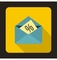 Card with percent sign in the envelope icon vector image