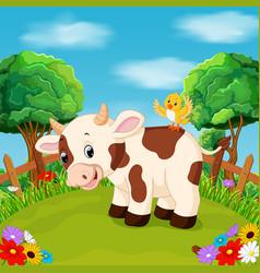 Cartoon happy cow smile in the farm vector