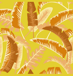 cartoon palm leaves seamless orange yellow vector image