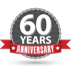 Celebrating 60 years anniversary retro label vector