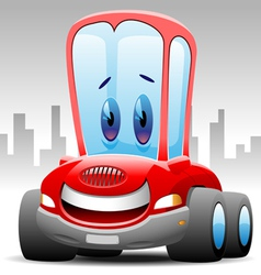 Cheerful red car vector