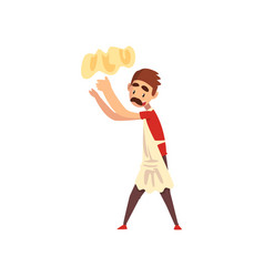Chef tossing dough in air pizza maker vector