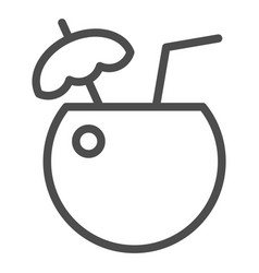coconut cocktail line icon drink vector image