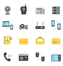 Color icon set - communication devices vector