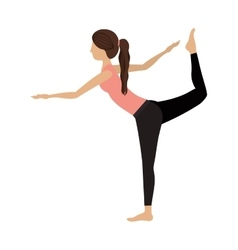 Colorful yoga woman lord of the dance pose one vector