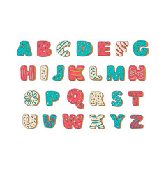 Cookies with colorful glaze set alphabet isolated vector