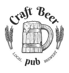 craft beer pub vintage label vector image