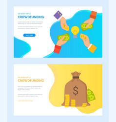 Crowdfunding dollar in hands investors web vector