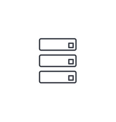 Data center server thin line icon linear vector