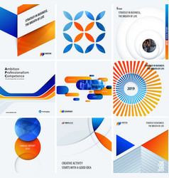 design set of blue orange colourful abstract vector image