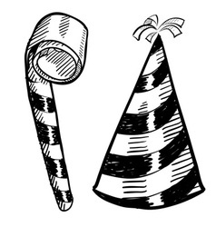 doodle party hat blower vector image
