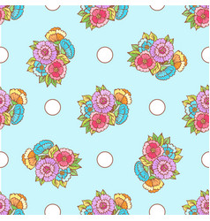 doodle pattern fancy flowers and circles on blue vector image