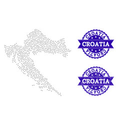 Dotted map of croatia and textured seal collage vector