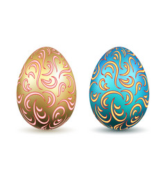 Easter egg 3d icons ornate gold color eggs set vector