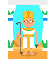 Egyptian pharaoh with scepter and ankh cross vector