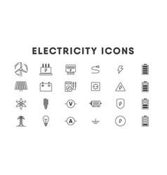 Electricity thin line icon set energetics vector
