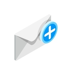 Envelope with plus sign icon isometric 3d style vector