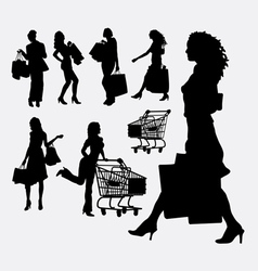 Female people shopping silhouettes vector
