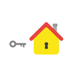 Flat design concept of key and house with keyhole vector