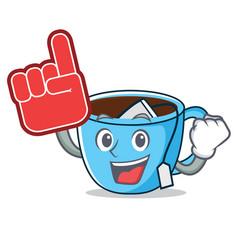 Foam finger tea cup mascot cartoon vector