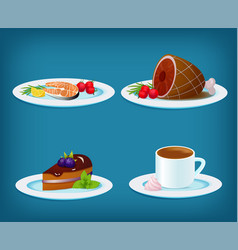 food set with grilled fish meat dessert cake and vector image