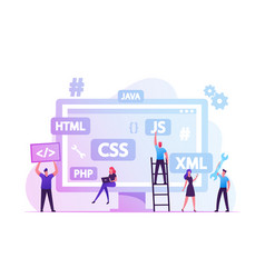 Front end development concept developers create vector