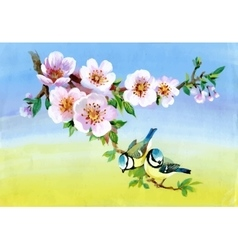 Garden flowers and birds watercolor vector
